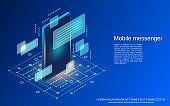 Mobile messenger vector concept