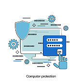 Computer protection vector concept
