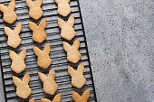 Easter bunnies shaped cookies on grey. Top view with copy space.