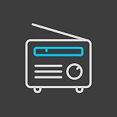 Retro radio vector flat icon on dark background