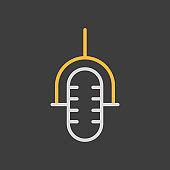 Retro microphone vector icon on dark background