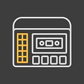 Retro cassette recorder player icon dark background