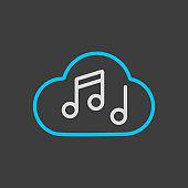 Music note cloud sound vector icon dark background