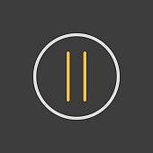 Pause button vector flat icon on dark background