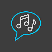 Musical note speech bubble icon on dark background