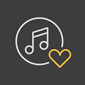 Musical note icon and favorite, like symbol