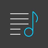 Music playlist vector icon on dark background