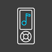 Mp3 player vector flat icon on dark background
