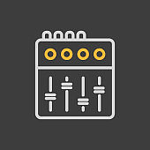 Mixing console vector flat icon on dark background