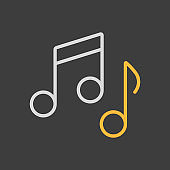 Music notes, song, melody or tune vector icon