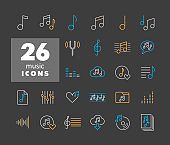 Music notes vector icons set on dark background