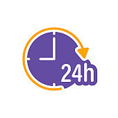 Service twenty four hours vector glyph icon