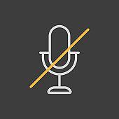 Microphone, mic mute vector icon dark background