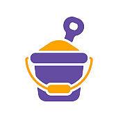 Sand Bucket and shovel vector glyph icon