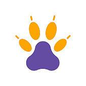 Predatory paw vector glyph icon. Pet animal sign