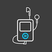 Media player with headphones icon dark background