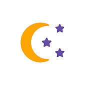 Moon and star vector glyph icon. Camping sign