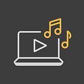 Listen to music on laptop icon on dark background