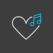 Like music vector icon on dark background
