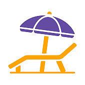 Lounger Beach Sunbed Chair flat vector glyph icon