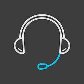 Headset. Headphones with microphone icon dark background