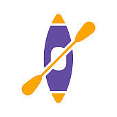 Kayak with paddle vector glyph icon. Camping sign