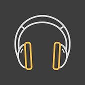 Headphones vector icon dark background. Music sign