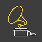 Gramophone vector icon dark background. Music sign