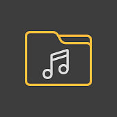 File folder with music note icon dark background