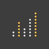 Equalizer, frequency with dots vector icon on dark background