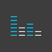 Equalizer, frequency with dashes vector icon on dark background