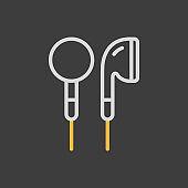 Ear-bud headphone vector icon on dark background
