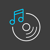 Disc and music note vector icon on dark background