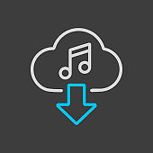 Cloud download music icon icon on dark background