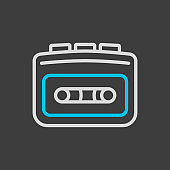 Cassette player vector icon on dark background