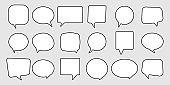 speech bubbles line icon set