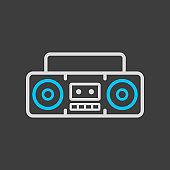 Boombox cassette stereo recorder icon dark background