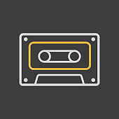 Audio cassette tape vector icon on dark background