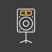Acoustic speaker vector icon on dark background