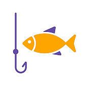 Fishing hook with fish vector glyph icon