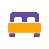 Double bed flat vector isolated glyph icon