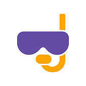 Diving mask with snorkel vector glyph icon