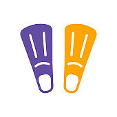 Diving flippers vector glyph icon. Summer sign