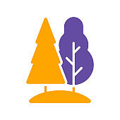 Deciduous and conifer forest vector glyph icon
