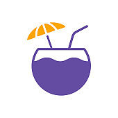 Coconut cocktail drink glyph icon. Summer sign