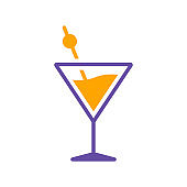 Cocktail drink glass isolated glyph icon vector
