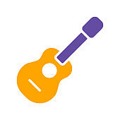 Classical acoustic guitar glyph icon. Musical sign