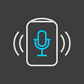Voice assistant concept icon on dark background