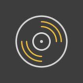 Vinyl record, lp record icon on dark background