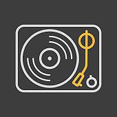 Vinyl record player vector icon on dark background